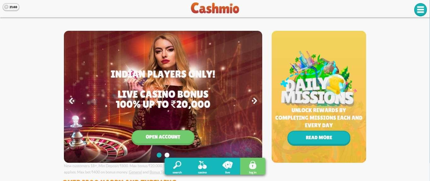 Cashmio.com Casino Review - Live Casino Bonus 100% upto 20,000