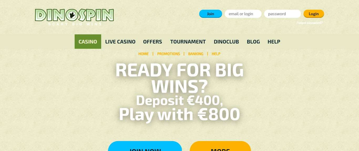 Dinospin Casino Review - More Than 1500 Games Distributed