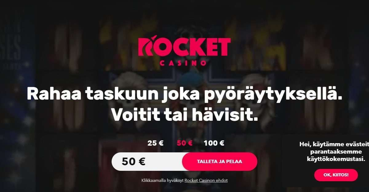 Rocket Casino Review - Money In Your Pocket With Every Spin.