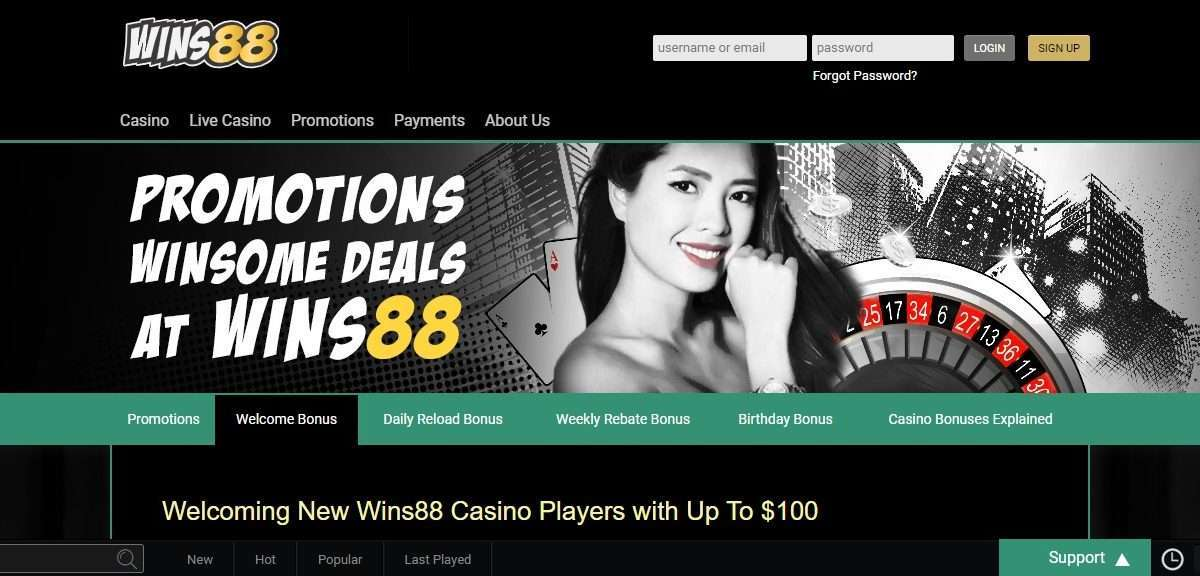 Wins88 Casino Review - Wins88 Casino Players with Up To $100