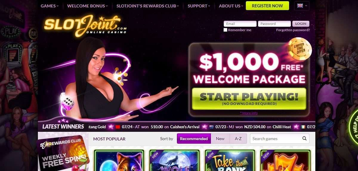 Slotjoint Casino Review - 50 % Match up to $100 WR = Bonus x 40