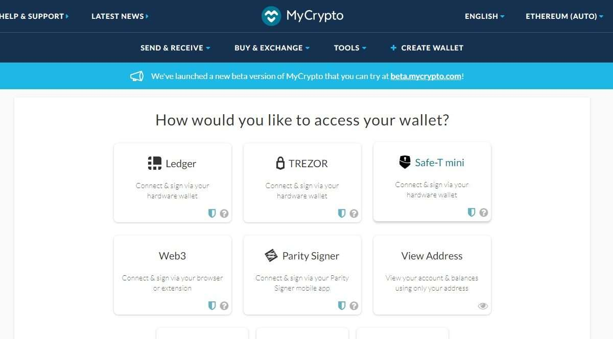 Mycrypto Wallet Review - How would you like to access your wallet?