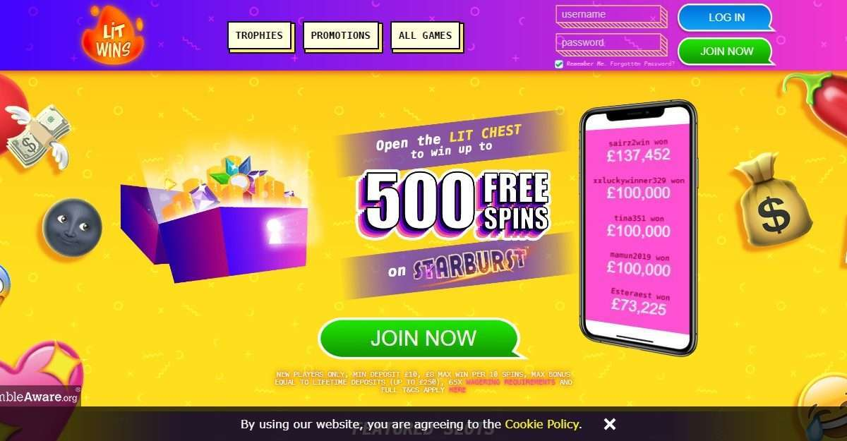 Lit Wins Casino Review - Win up to 500 Free spins on Starburst