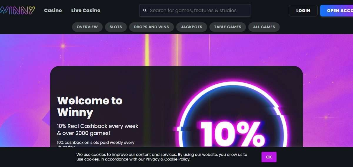 Winny Casino Review - 10% Real Cashback Every Week & over 2000 Games!