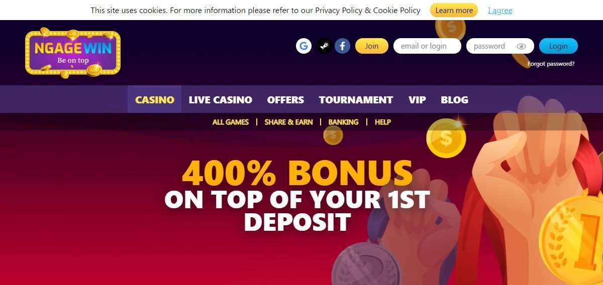 NgageWin Casino Review : 400% Bonus up to €40