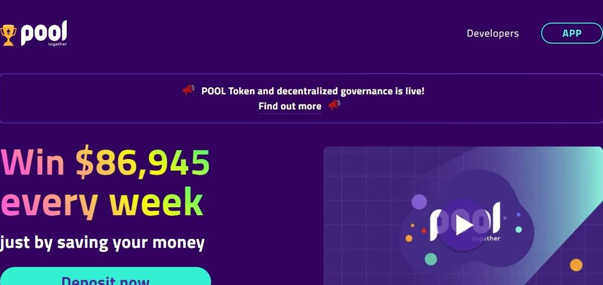 Pooltogether.com Airdrop Review: Win $86,945 every week