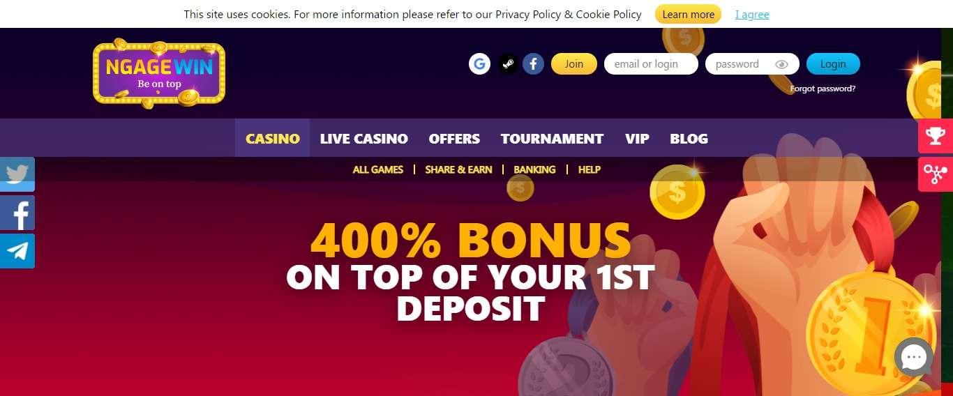 NgageWin Casino Review : 400% Bonus up to €40