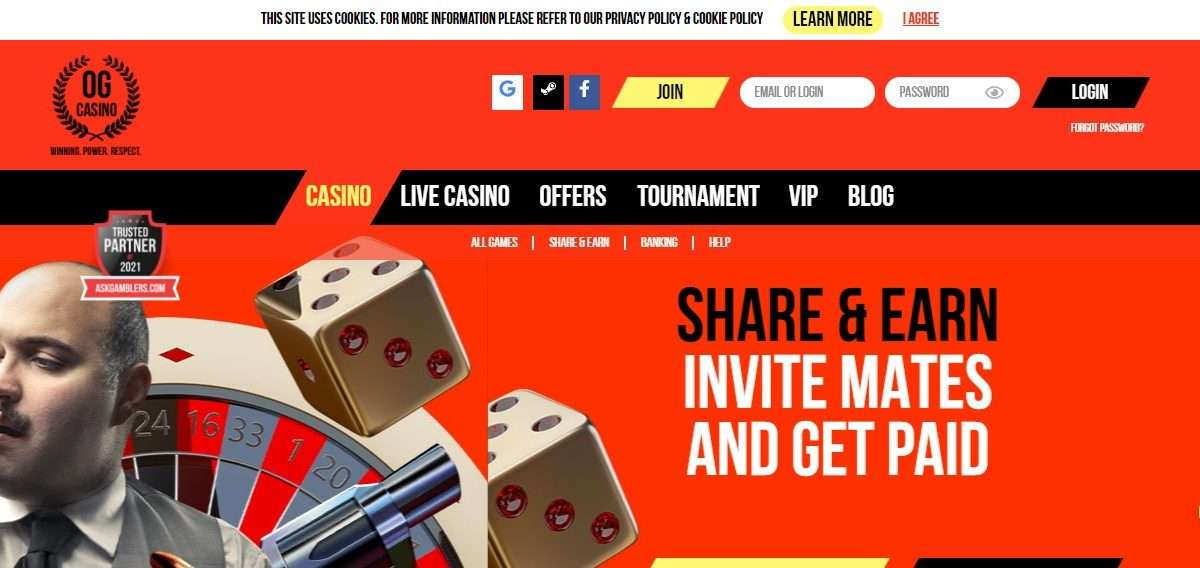 OG Casino Review: Bonus for your Choice up to 100% and 150 Free Spins!