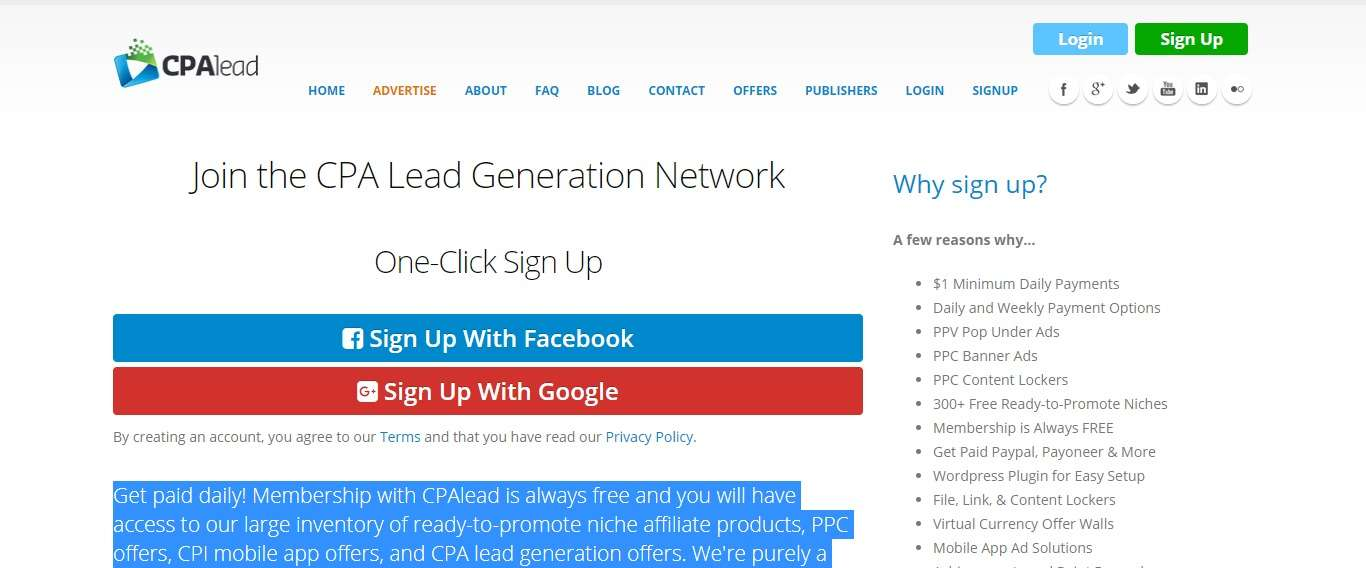 CPAlead Affiliates Network Review: Membership With CPAlead is Always Free