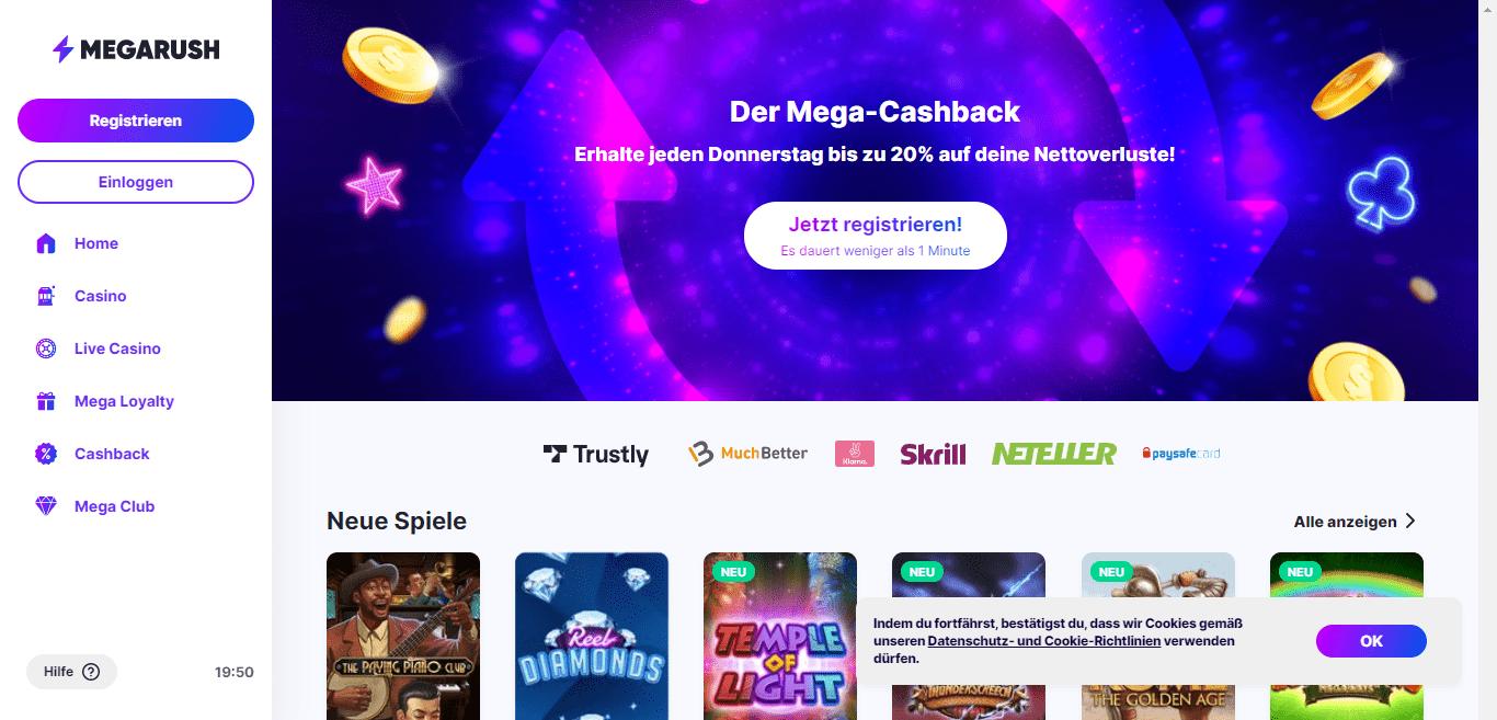 MegaRush Casino Review : Der Mega-Cashback