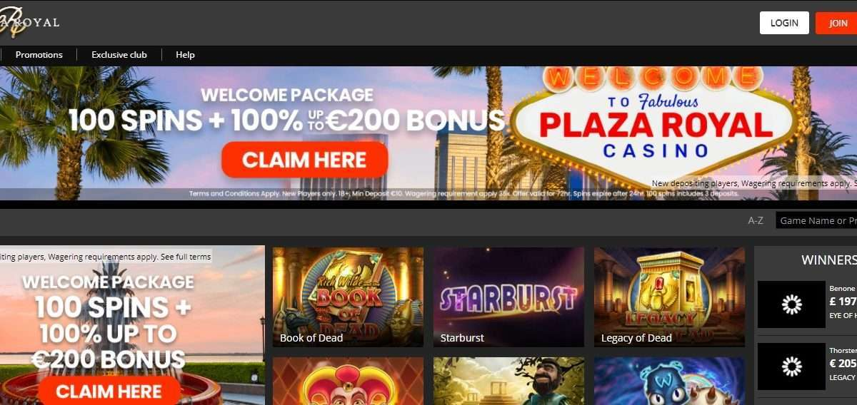 Plazaroyal.com Casino Review: Bonus of up to €200 with 20 Free Spins