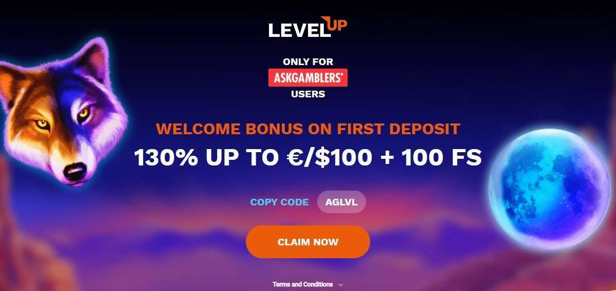 LevelUp Casino Review - Welcome Bonus On First Deposit130% UP TO €/$100 + 100 FS