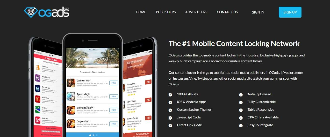 OGAds Advertising Review : The #1 Mobile Content Locking Network