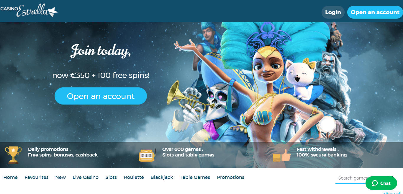 Casino Estrella Casino Review : Join Today Now €350 + 100 Free Spins!