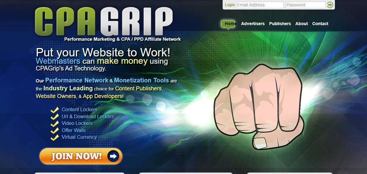 CPAGrip Affiliates Network Review : Performance Network & Monetization Tools
