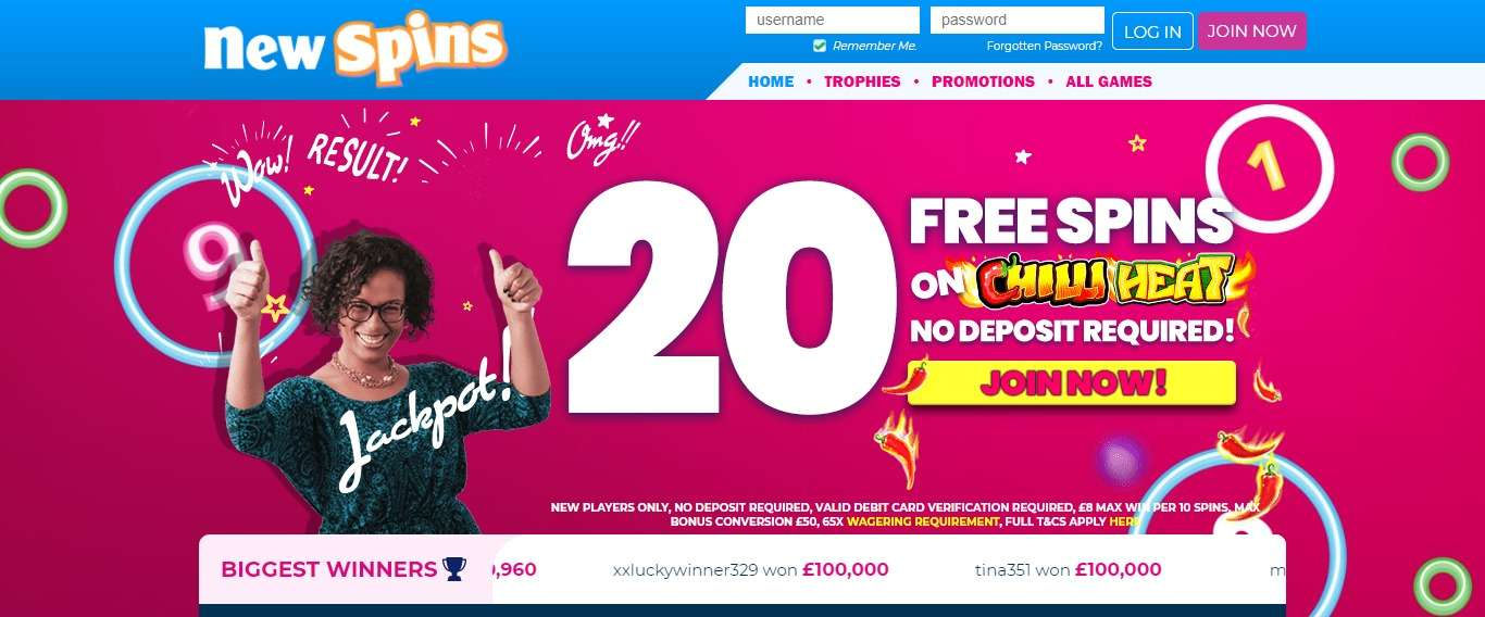 New Spins Casino Review : Up to 500 Bonus Spins 1st Deposit Bonus