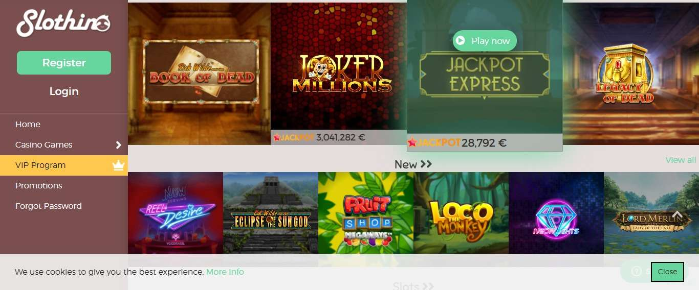 Slothino Casino Review - 1st Deposit: 100% up to €150 + 90 free spins