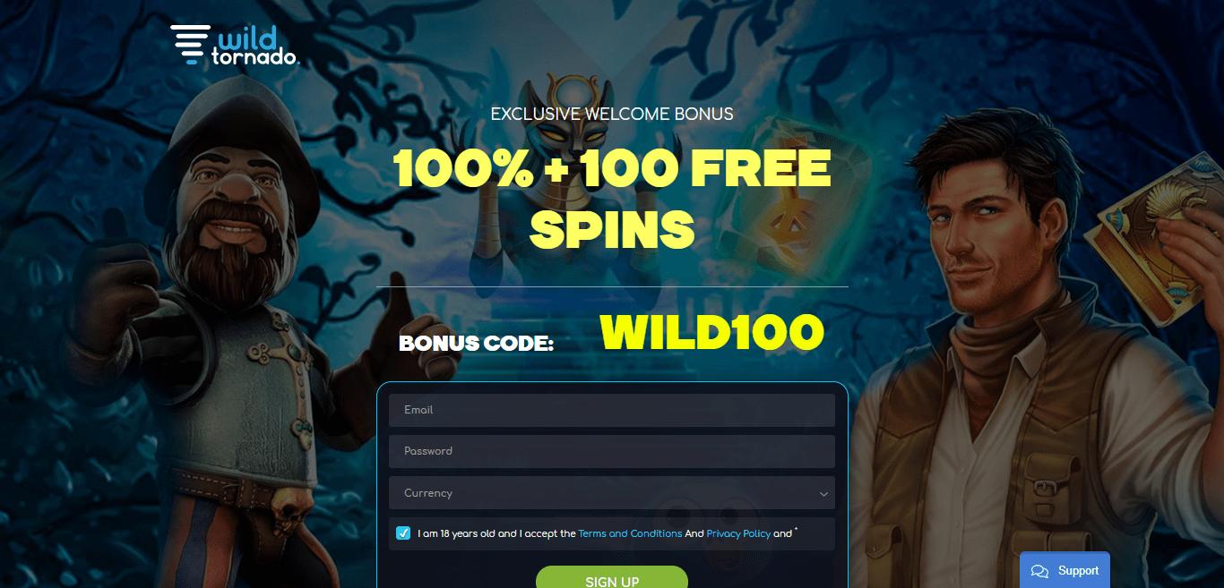 Wild Tornado Casino Review : 100% + 100 Free Spins