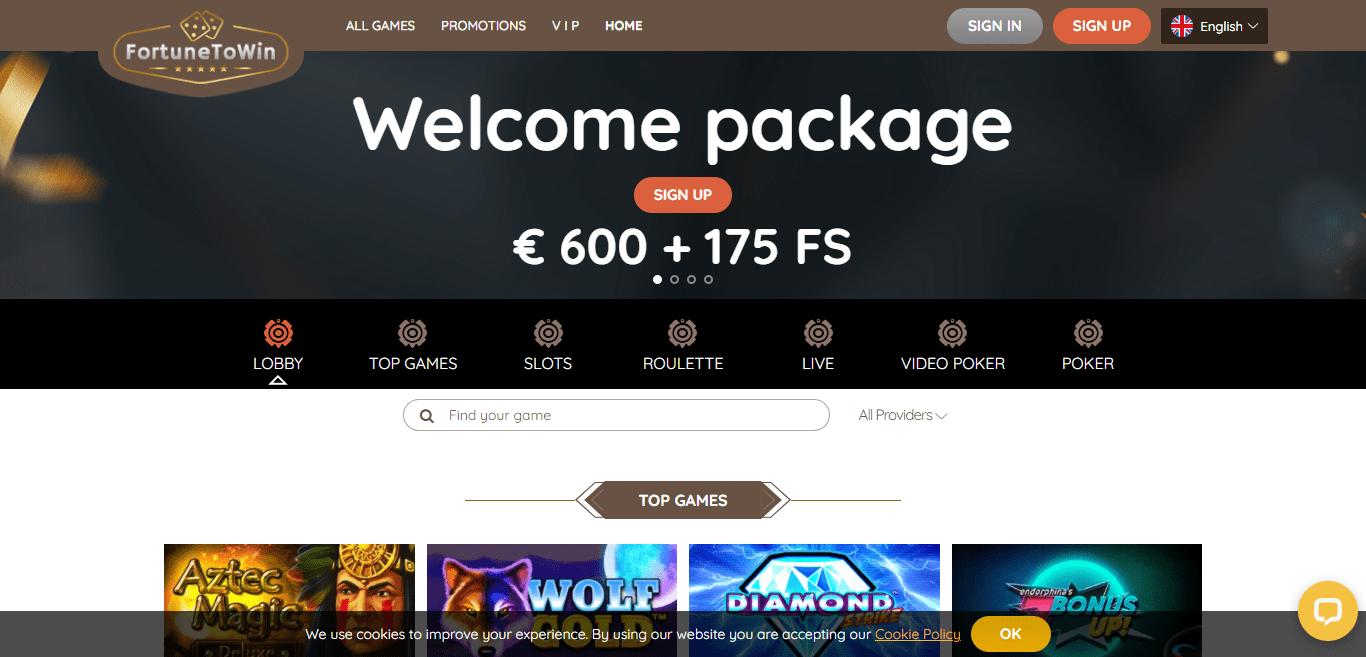 Fortunetowin Casino Review : Specila Bonus 150% Upto 300 EUR+ 100 Free Spins