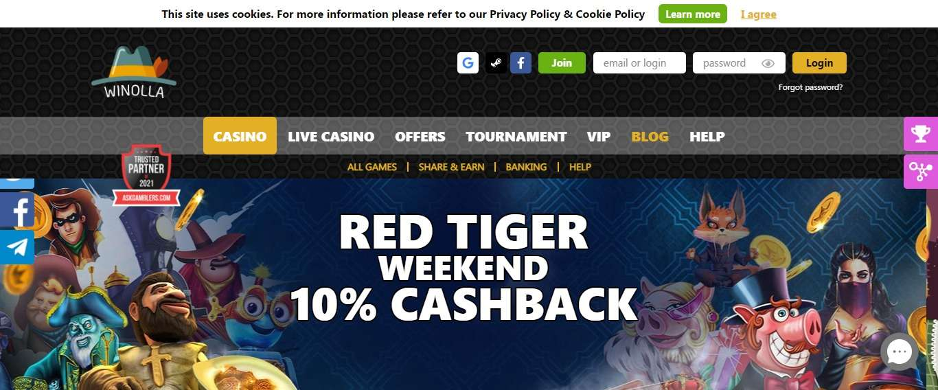 Winolla.com Casino Review: Red Tiger Weekend 10% Cashback