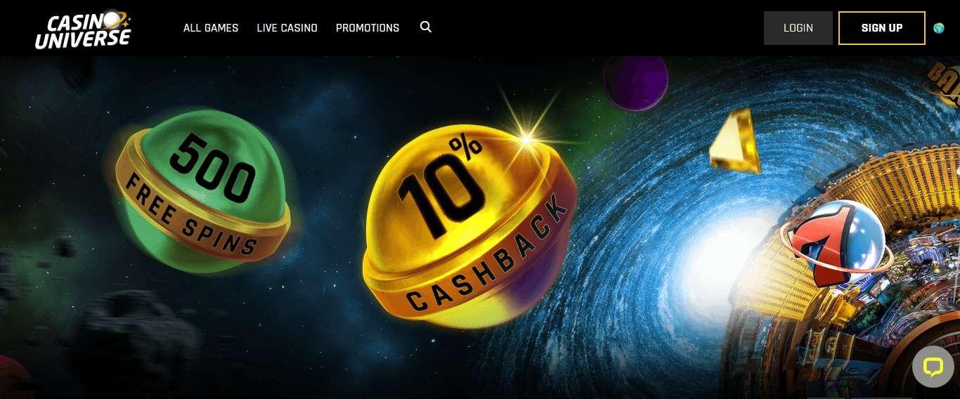 Casinouniverse.com Casino Review: 10% Cashback Every Week
