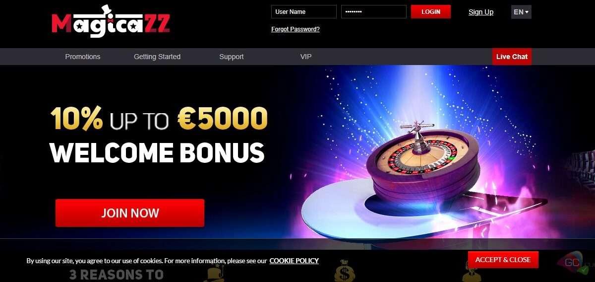 Magicazz.com Casino Review: Welcome Bonus 100% Up To 1500 Euro + 50 Free Spins