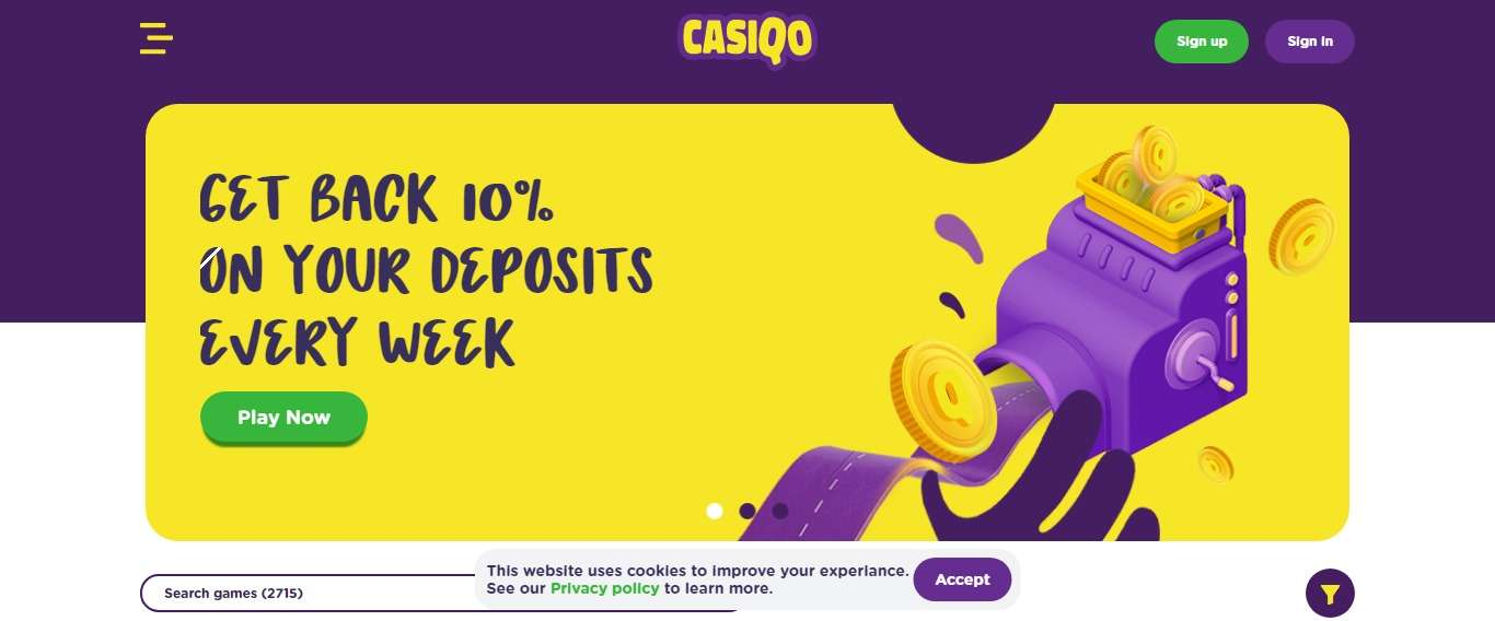 Casiqo.com Casino Review: Get back 10% On Your Deposit Every Week