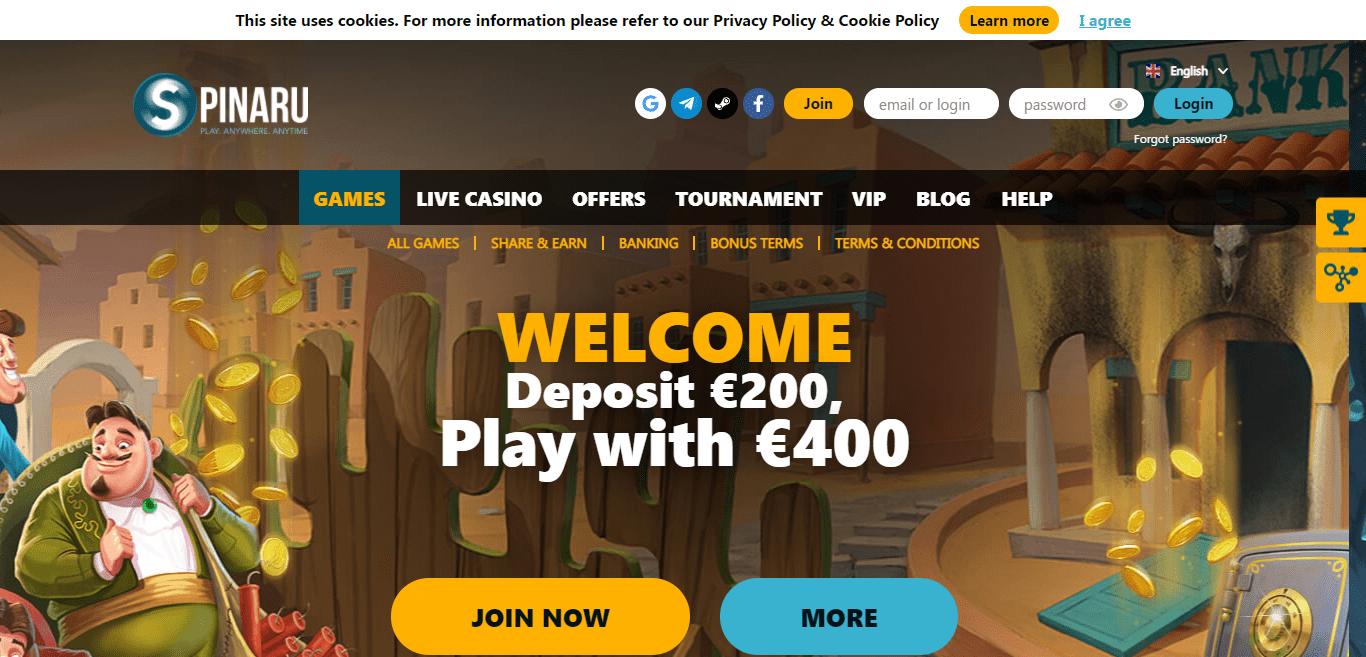 Spinaru.com Casino Review : 2. Deposit, Picking 'Welcome Bonus