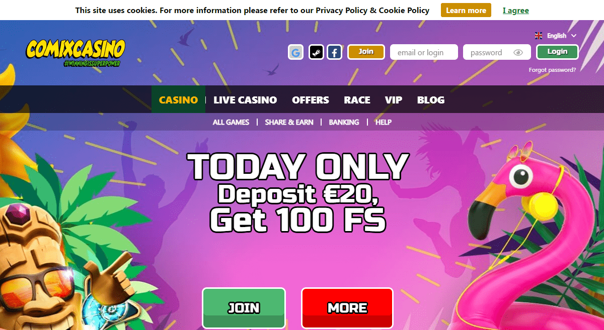 Comixcasino.com Casino Review : Today Only Deposit €20, Get 100 Free Spins