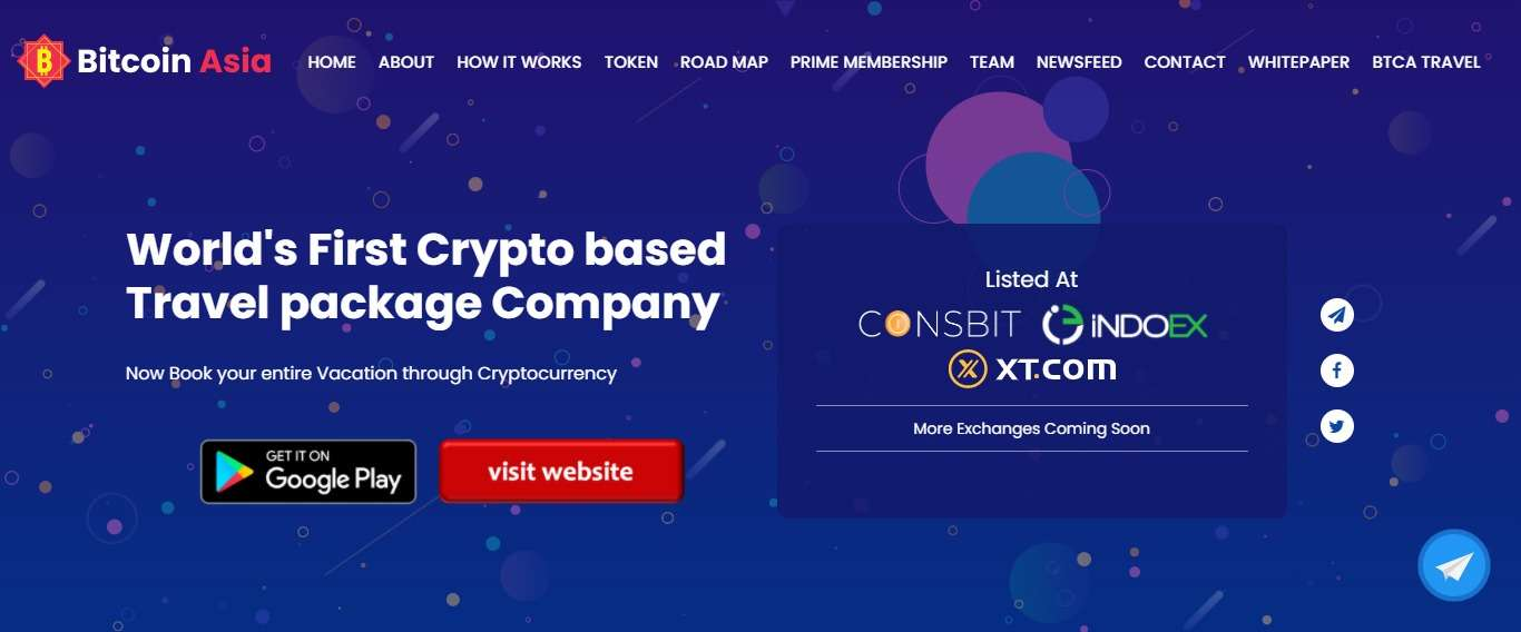 Bitcoinasia.site Airdrop Review: World's First Crypto based Travel package Company