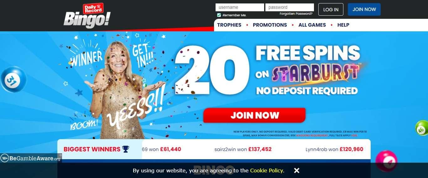 Dailyrecordbingo.com Casino Review: Welcome Offer: up to 500 Free Spins