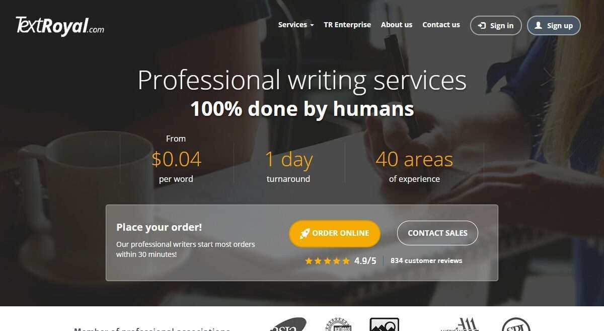 Textroyal.com Advertising Review : Promoting One of The Best Writing Services