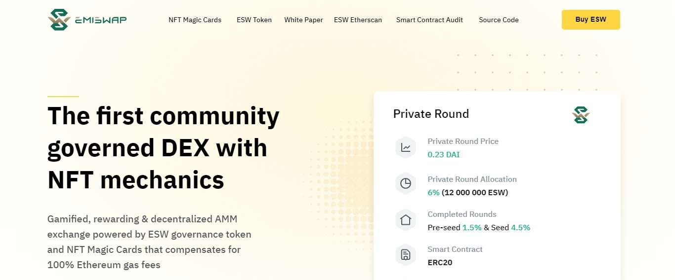 Emiswap.com Ico Review: The First Community Governed DEX with NFT Mechanics