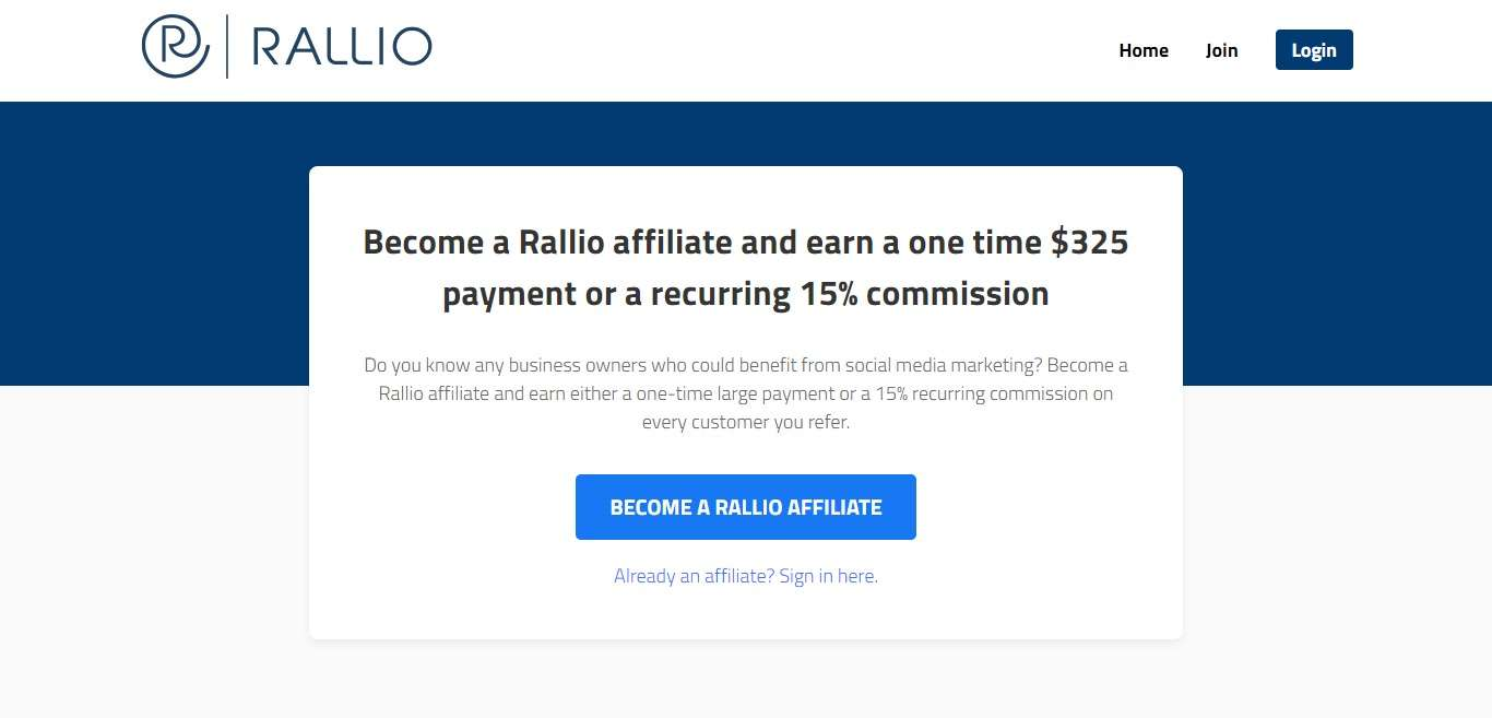 Rallio Advertising Review : One time $325 payment or a recurring 15% commission